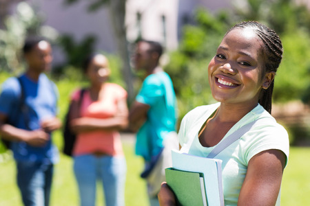 happy female african american college student close up
