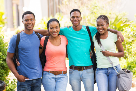 portrait of cute african american college friends on campus photo