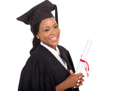 close up portrait of afro american female college graduate photo