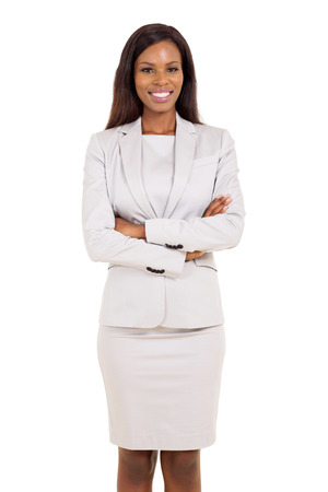 happy african woman: portrait of african american businesswoman isolated on white background