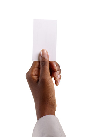 Femme africaine tenue du papier vierge isolé sur blanc Banque d'images - 38374173