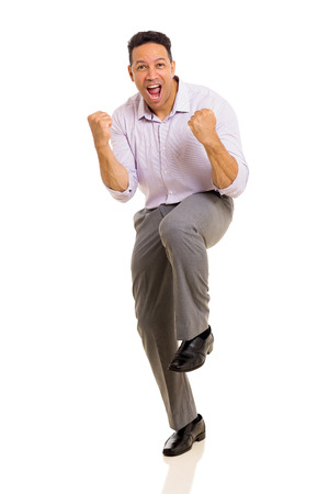 excited man: excited middle aged man waving fists on white background
