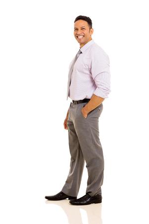 man side: joyful mature businessman posing on white background