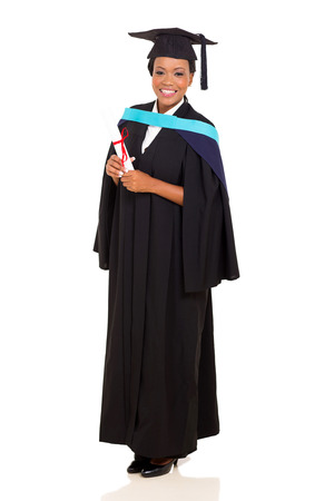 master degree: full length portrait of african female graduate isolated on white