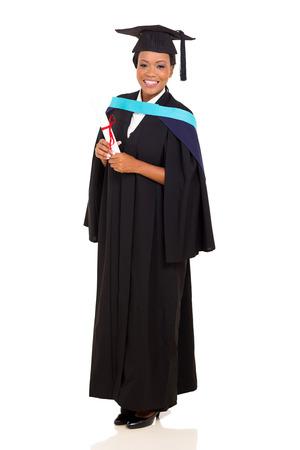 black graduate: full length portrait of african female graduate isolated on white