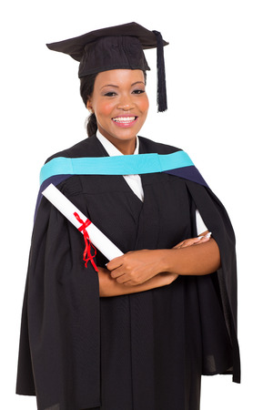 master degree: pretty female african graduate isolated on white background