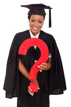 academic achievement: happy young african female graduate with question mark on white background