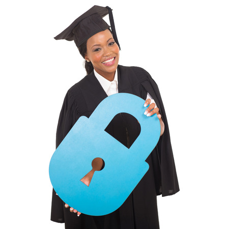 academic achievement: pretty afro american graduate with paper lock isolated on white