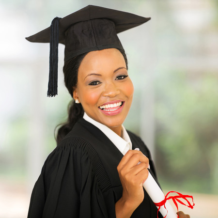 successful young african university graduate close up photo