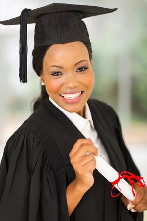 portrait of attractive african american female graduate photo