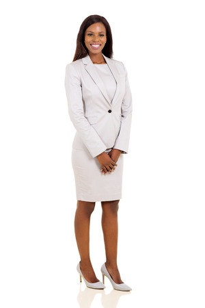 白い背景に分離された現代のアフリカ ビジネス女性