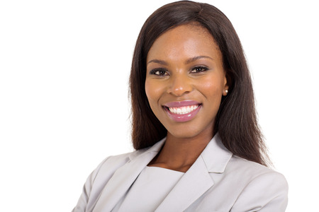 successful business woman: close up portrait of happy young african american businesswoman