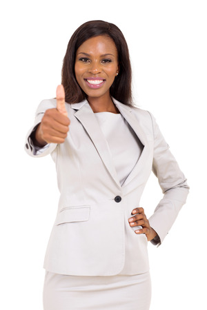 thumbs up: cheerful young african business executive giving thumb up
