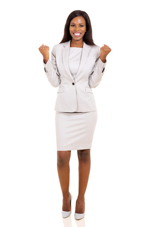 business suit: successful african businesswoman waving fists isolated on white background Stock Photo