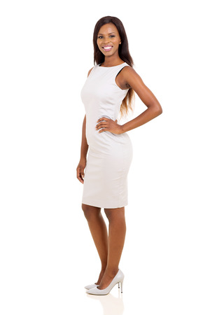 gorgeous african woman standing on white background Stock Photo