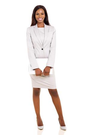 Boldog afro-amerikai üzleti vezetői gazdaság laptop Stock fotó