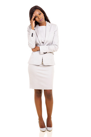 woman pose: sad african american businesswoman having headache on white background