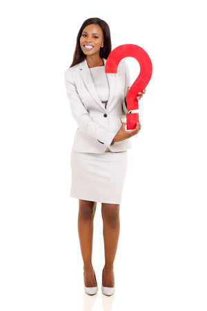 question mark background: cheerful young african american businesswoman holding question mark Stock Photo