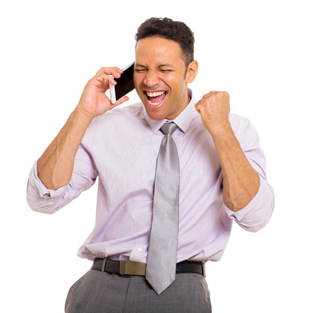 excited man: excited middle aged man talking on cell phone