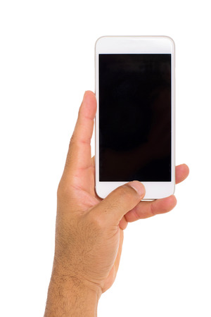 hand  up: hand holding smart phone isolated on white