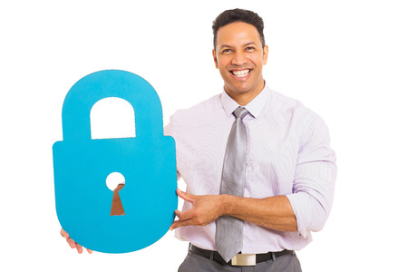 good looking man: good looking middle aged man presenting padlock