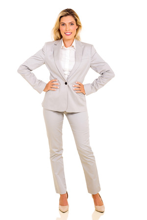 woman pose: full length portrait of modern businesswoman isolated on white Stock Photo