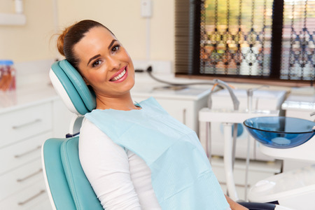 beautiful female patient in dental practice Stockfoto