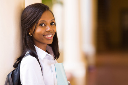 female portrait: beautiful young african female college student close up Stock Photo