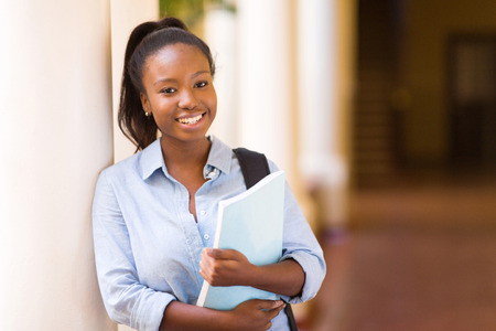 black student: attractive african american female college student on campus