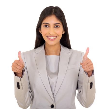 thumbsup: portrait of beautiful young indian businesswoman giving thumbs up