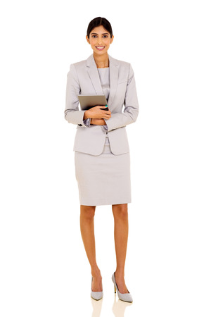 successful indian businesswoman holding tablet pc on white background