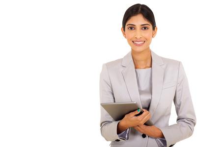 traje: hermosa trabajador de la empresa informática holding tablet femenina