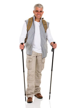 happy senior: happy senior man with backpack and hiking poles