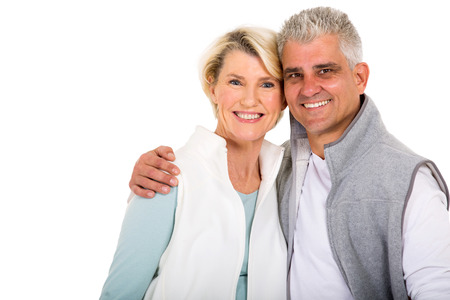 woman middle age: cute middle aged couple looking at the camera