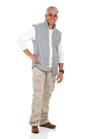 cuerpo hombre: hombre de mediana edad guapo en ropa casual aislado en blanco Foto de archivo