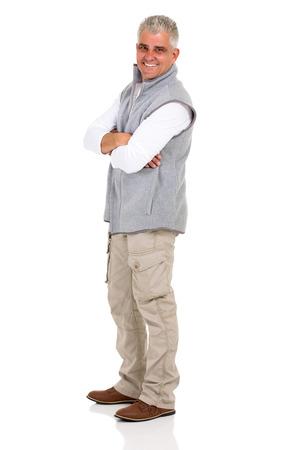 cuerpo hombre: hombre mayor hermoso con los brazos cruzados Foto de archivo