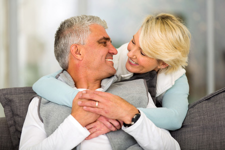 good looking boy: cheerful mature couple in love