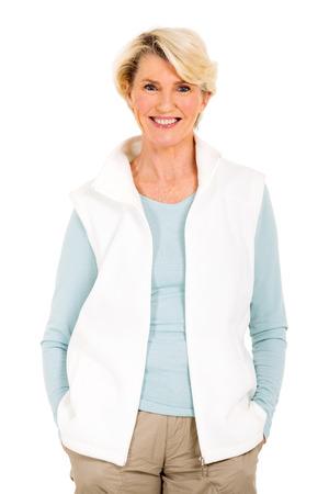 beautiful mature woman on white background