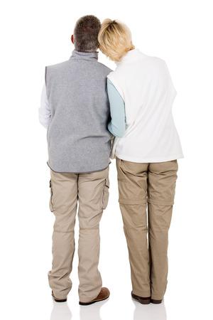 white back: rear view of senior couple isolated on white background