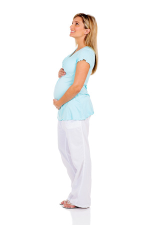 up view: side view of pregnant woman looking up isolated on white Stock Photo
