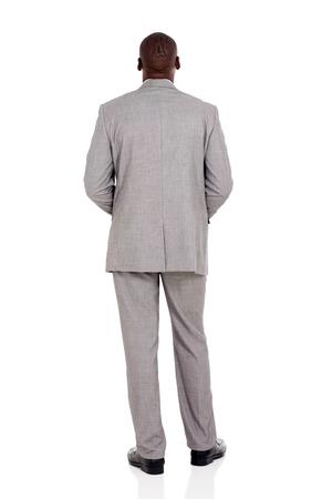 Rückansicht des afrikanischen Geschäftsmann isoliert auf weißem Hintergrund Standard-Bild - 45016680