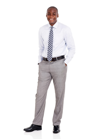 happy worker: handsome young african american man isolated on white background