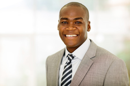 close up portrait of african american male corporate worker Stockfoto