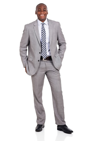 white background: successful young african businessman isolated on white