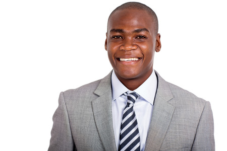 closeup portrait of young afro american business man Stock Photo