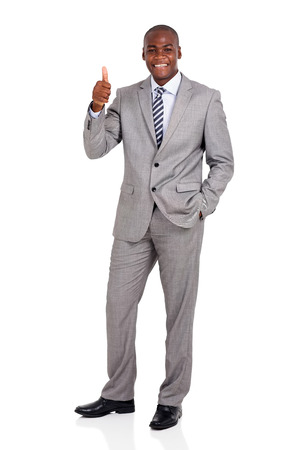 happy african corporate worker giving thumb up Stockfoto