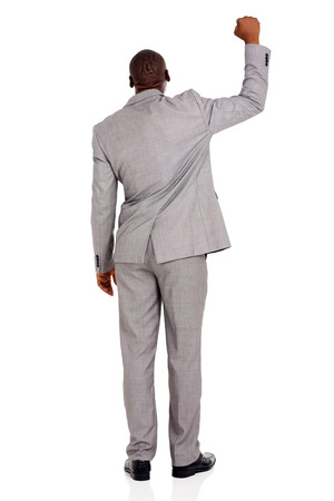 worker working: back view of african businessman white background Stock Photo