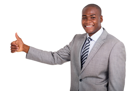 african business man: handsome african business man thumb up on white background