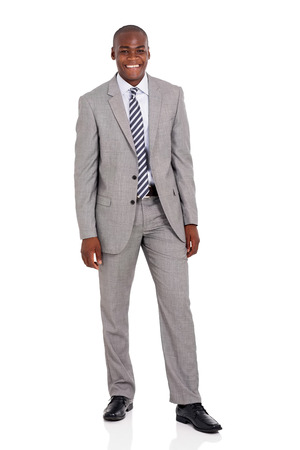 black male: full length portrait of happy young african corporate worker