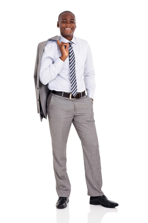 black male: elegant african american businessman holding coat over his shoulder Stock Photo